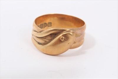 Lot 23-18ct gold snake ring