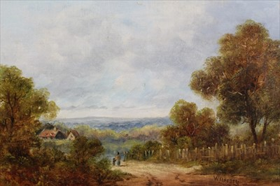 Lot 43 - W. St. Henry, 19th century, oil on canvas - figures in a lane in extensive landscape, signed, in gilt frame, 19cm x 39cm
