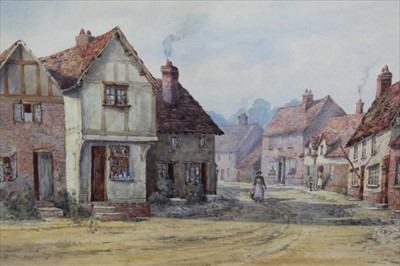 Lot 154 - English School, 19th century, watercolour - a village street, signed with initials F.L.B., in glazed gilt frame, 26cm x 35cm