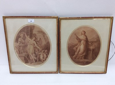 Lot 32 - Angelica Kauffman (1741-1807) oval sepia engraving by Bartolozzi - Classical Female, together with a similar engraving after Cipriani, in glazed gilt frames, 30cm x 24cm