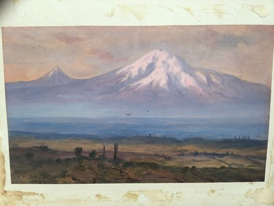 Lot 21-Continental School, circa 1900, oil on paper mounted on board, Mountainous landscape, signed 'Akopian'