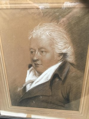 Lot 15-English School (late 18th/early 19th century) chalks, Portrait of a Gentleman, named as Thomas Pemberton, together with an engraving