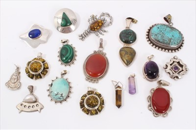 Lot 15-Collection silver and white metal earrings, pendants and brooches set with semi precious stones
