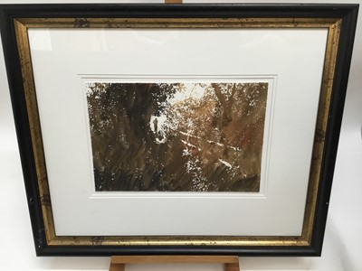 Lot 11-Jeremy Houghton, contemporary, watercolour - figure in landscape, signed and dated '09, in glazed gilt and ebonised frame