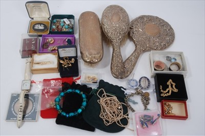 Lot 12-Costume jewellery and silver backed dressing table items