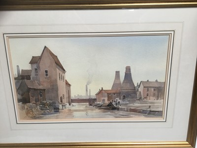 Lot 24-Ivan Taylor (b. 1946) watercolour - City wharfs and kilns,, mounted in glazed frame