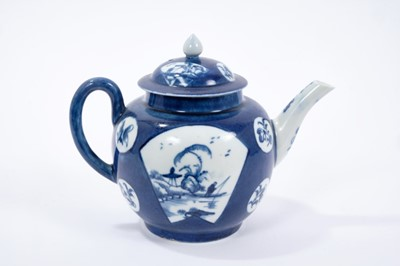 Lot 22-Rare Worcester teapot and cover, circa 1765, painted in underglaze blue