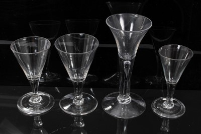 Lot 15-18th century glass with tear drop stem, two 18th century conical glasses each with folded foot, another similar without folded foot