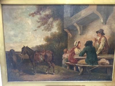 Lot 10-After George Morland (1762-1804) oil on canvas - Rural scene with figures