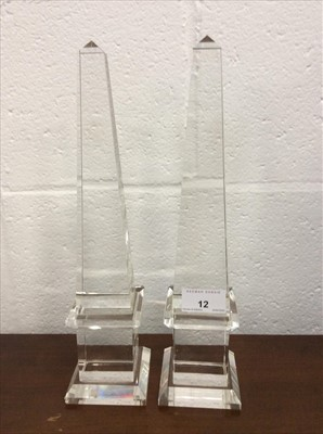 Lot 12-Pair of contemporary glass obelisks
