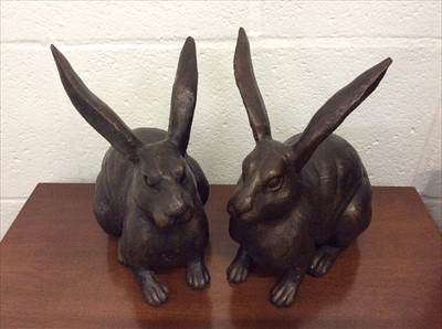 Lot 13-Pair of bronzed models of hares