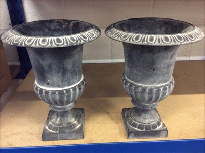 Lot 18-Pair of classical style metal campagna shaped urns
