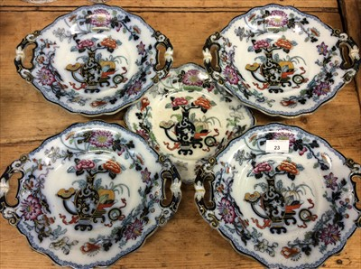 Lot 23-Four Victorian stoneware comports and a matching plate