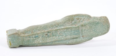 Lot 720-Ancient Egyptian celadon glazed ushabti, wooden mount