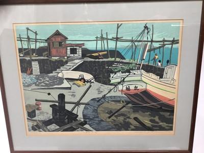 Lot 13-Fumio Kitaoka (1918-2007) wood block print - Harbour scene, signed and numbered