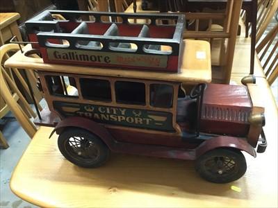 Lot 9-Wooden model vintage bus