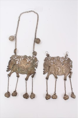 Lot 5-Two Old Chinese white metal necklaces with embossed plaque depicting a figure on a dragon/horse