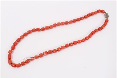Lot 2-Old Chinese coral necklace with barrel shaped polished beads and oval silver clasp