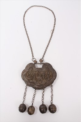 Lot 4-Old Chinese white metal necklace with embossed panel depicting figures and Chinese characters, with chain and bells