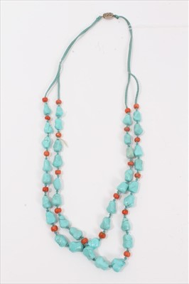 Lot 8-Turquoise and coral bead two strand necklace with silver clasp