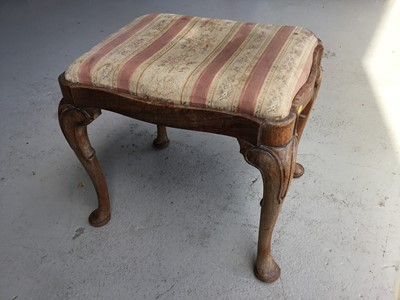 Lot 46-Antique mahogany Dressing stool of shaped rectangular form, with drop in seat, on cabriole legs