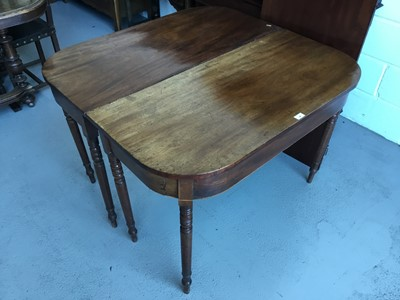 Lot 40-Georgian Mahogany D - end dining table with one extra leaf, on turned legs, 109cm in width, 104cm in length (without leaf) 72cm in height