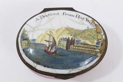 Lot 708-Enamel box 'A Present from Hot Wells' circa 1800