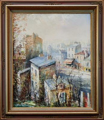 Lot 6-Lucien Delarue - oil on canvas Street scene