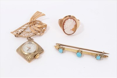 Lot 13-9ct gold cameo ring, turquoise set bar brooch and 9ct gold nurse's watch