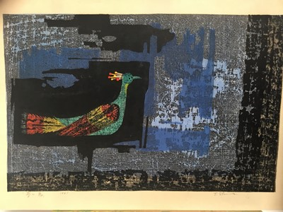 Lot 20-Tamami Shima (1937-1999) Pair of Japanese coloured woodcut prints -ex Sir Richard Attenborough, Bonhams sale