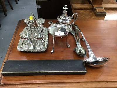 Lot 8-Silver plated egg cruet and sundry plate