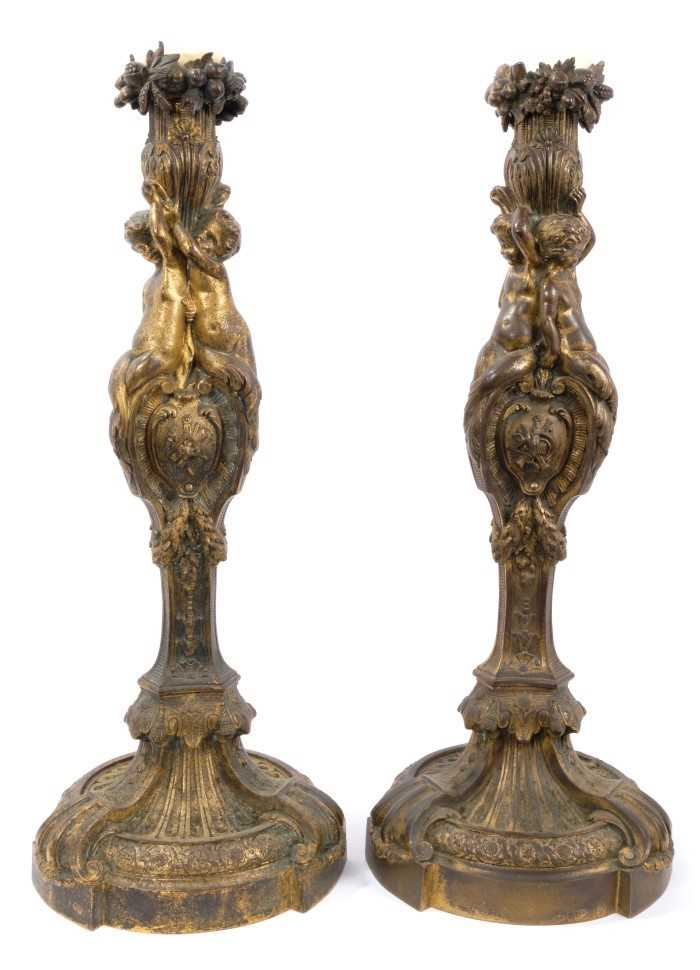 Lot 707-Fine pair of 19th century French ormolu candlesticks by Masselotte