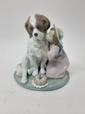 Lot 188 - Lladro porcelain figure group - young girl with St Bernard dog