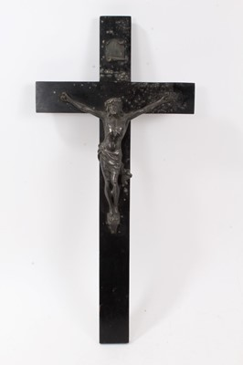 Lot 42-Victorian silver plate and ebonised wood crucifix