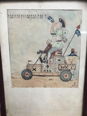 Lot 17-Mid 20th century English School - watercolour - Military cartoon