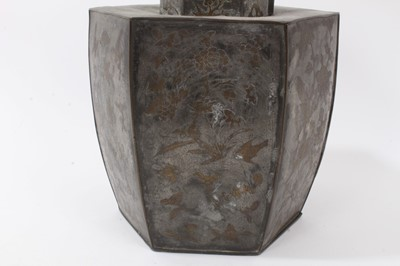 Lot 702-19th century Chinese inlaid pewter hexagonal tea caddy