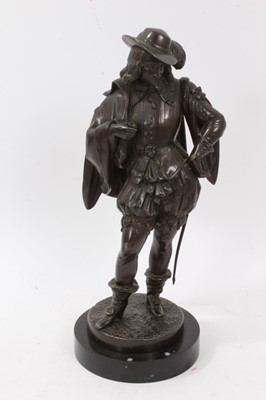 Lot 31-A 19th century spelter figure of a Cavalier