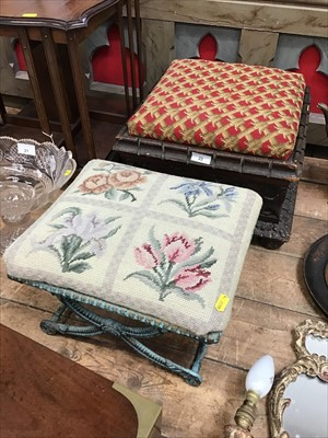 Lot 22-Victorian carved oak square footstool with tapestry top