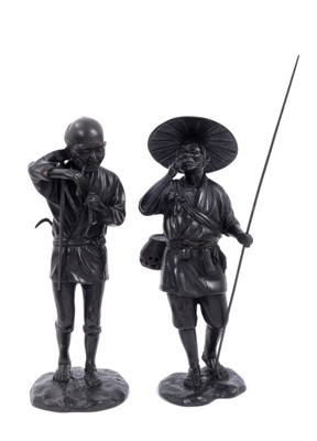 Lot 718-Pair of Japanese Meiji period bronzes of a wood cutter and a farmer