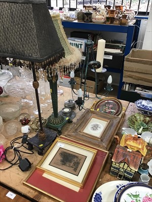 Lot 15-Two table lamps, candle stand and a metal ceiling light