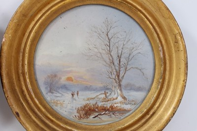 Lot 712-Set of three oil paintings of the seasons