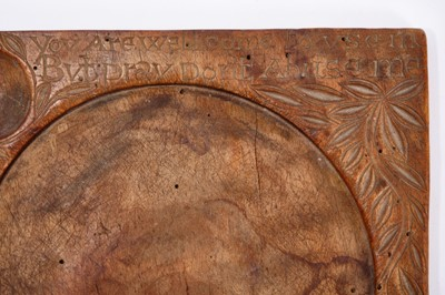 Lot 710-Rare George II carved fruitwood trencher