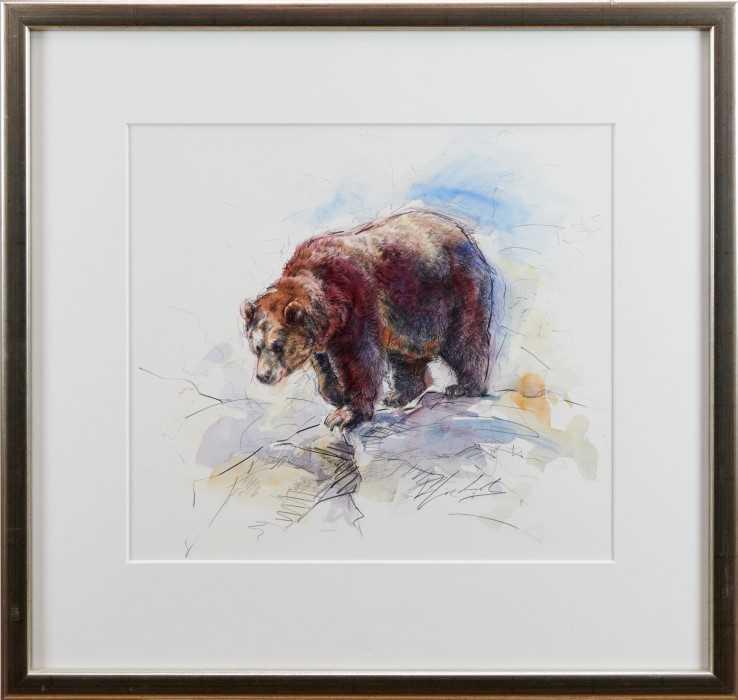 Lot 5-Rachel Lockwood (b. 1965) mixed media, brown bear, indistinctly signed