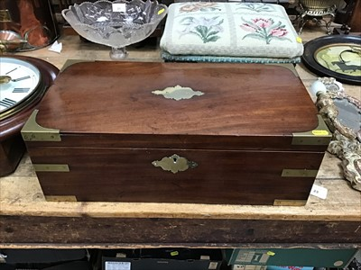 Lot 23-Georgian mahogany brass bound writing slope with brass flush side handles and single drawer