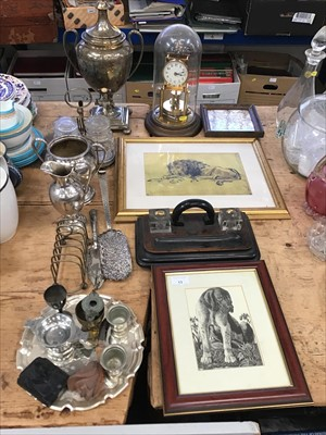 Lot 13-Sundry items, including a plated tea urn, other plated wares