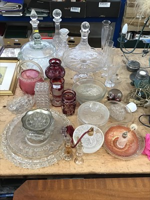Lot 14-Collection of glassware, including decanters, Bohemian glass, atomisers, scent bottles, etc