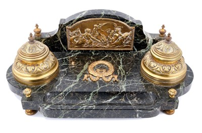 Lot 40-19th century Continental variegated serpentine marble and brass mounted desk stand