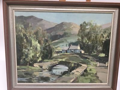 Lot 8-Stanley Orchart (1920-2005) oil on board landscape