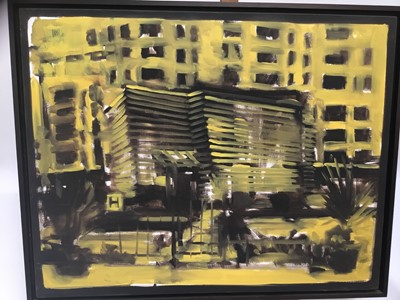 Lot 9-Keith Roberts (b1960) oil on canvas, signed verso, urban landscape