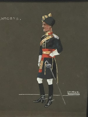 Lot 18-English School, early 20th century, watercolour - 15th Lancers, sighed Lance, 29 x 25cm, glazed frame